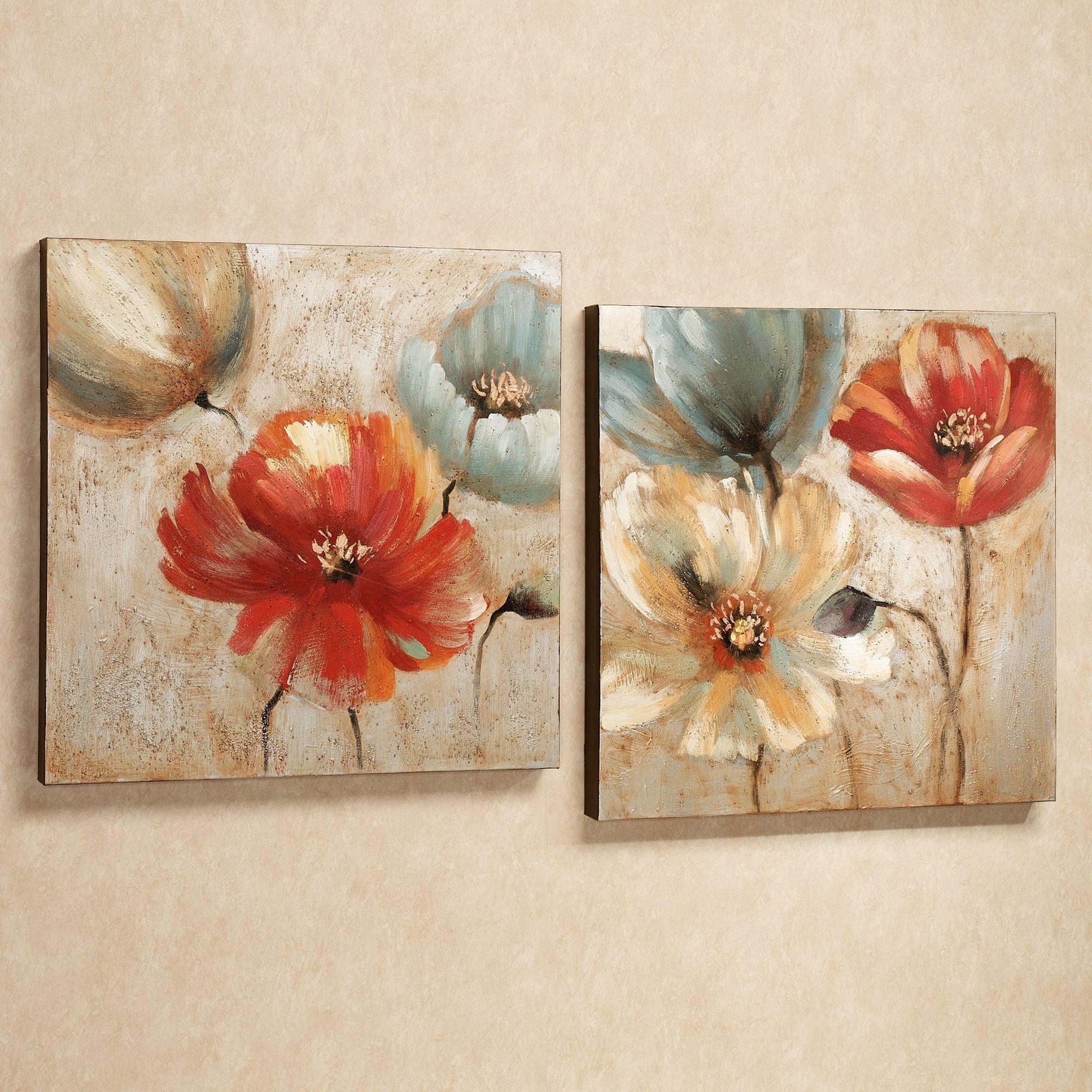 Joyful Garden Floral Canvas Wall Art Set Throughout Canvas Wall Art Sets (View 7 of 20)