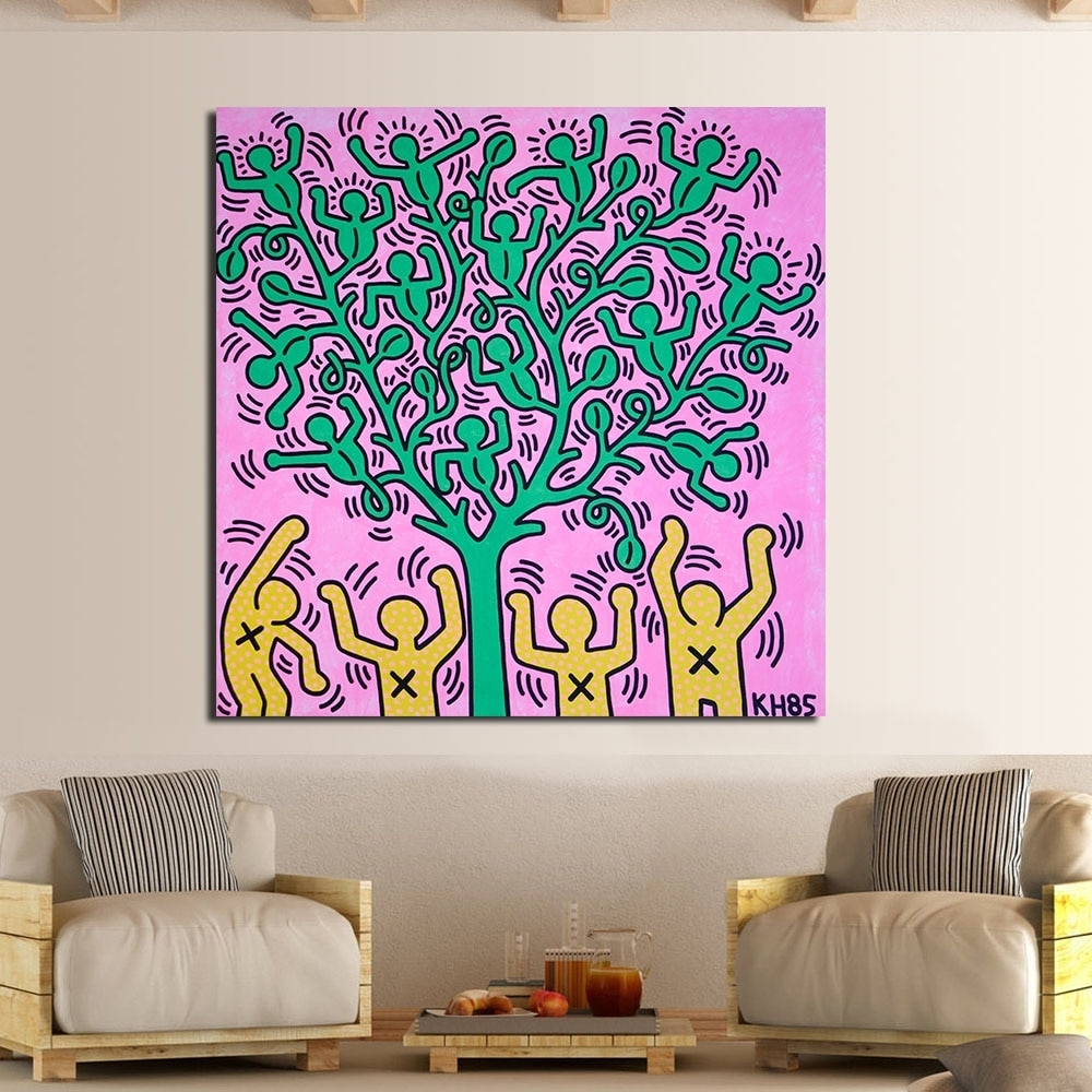 Jqhyart Keith Haring Milano Oil Painting Wall Art Canvas Decorative in Living Room Painting Wall Art (Image 14 of 20)