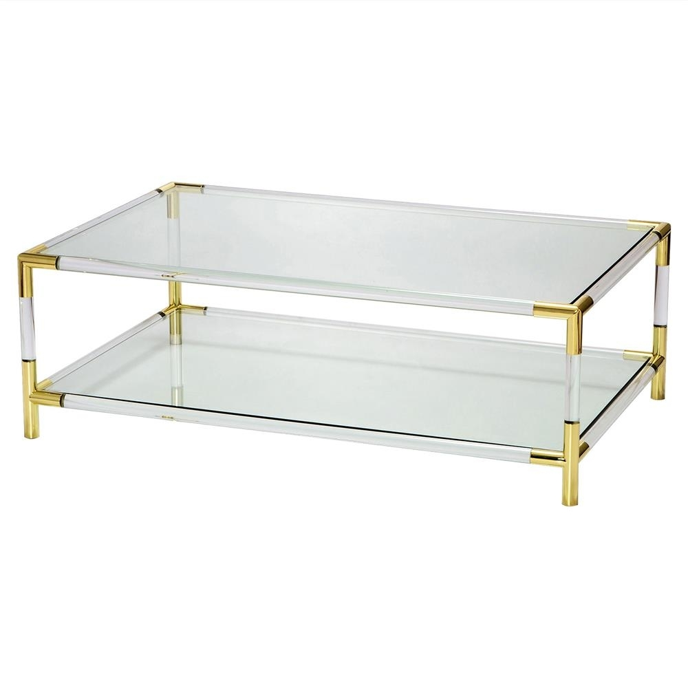 Julien Modern Brass Corner Clear Acrylic Coffee Table | Kathy Kuo Home within Modern Acrylic Coffee Tables (Image 18 of 30)