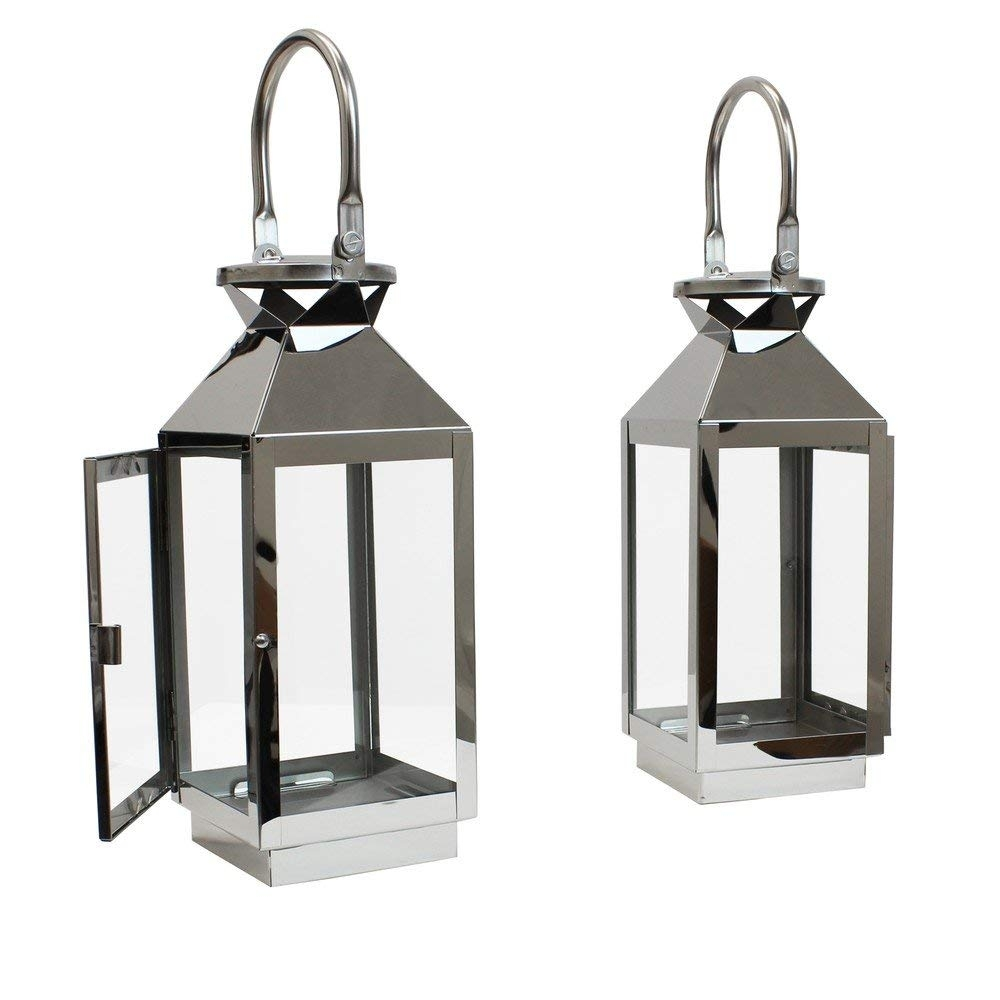 Jvl Pair Of Stainless Steel Hampton Indoor/outdoor Candle Light within Vaughan Outdoor Lanterns (Image 8 of 20)