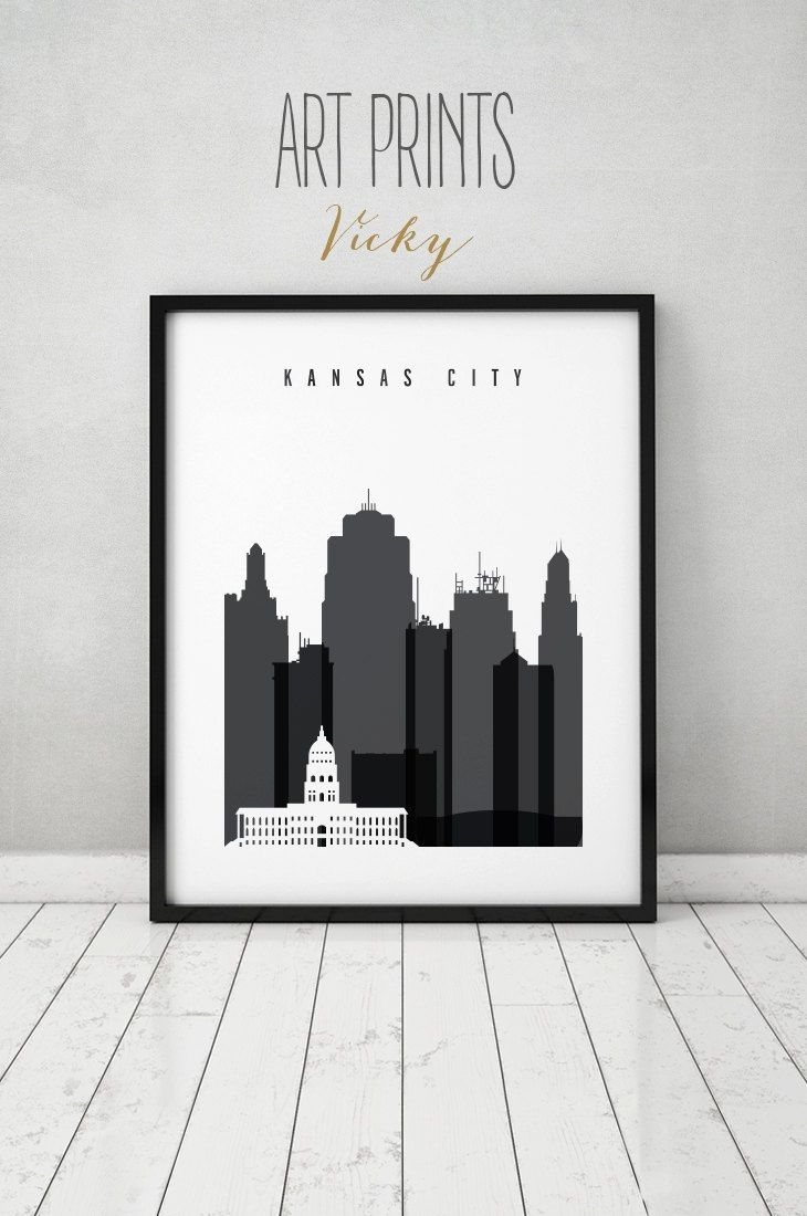 Kansas City Black And White Print, Poster, Wall Art, Travel inside Kansas City Wall Art (Image 4 of 20)