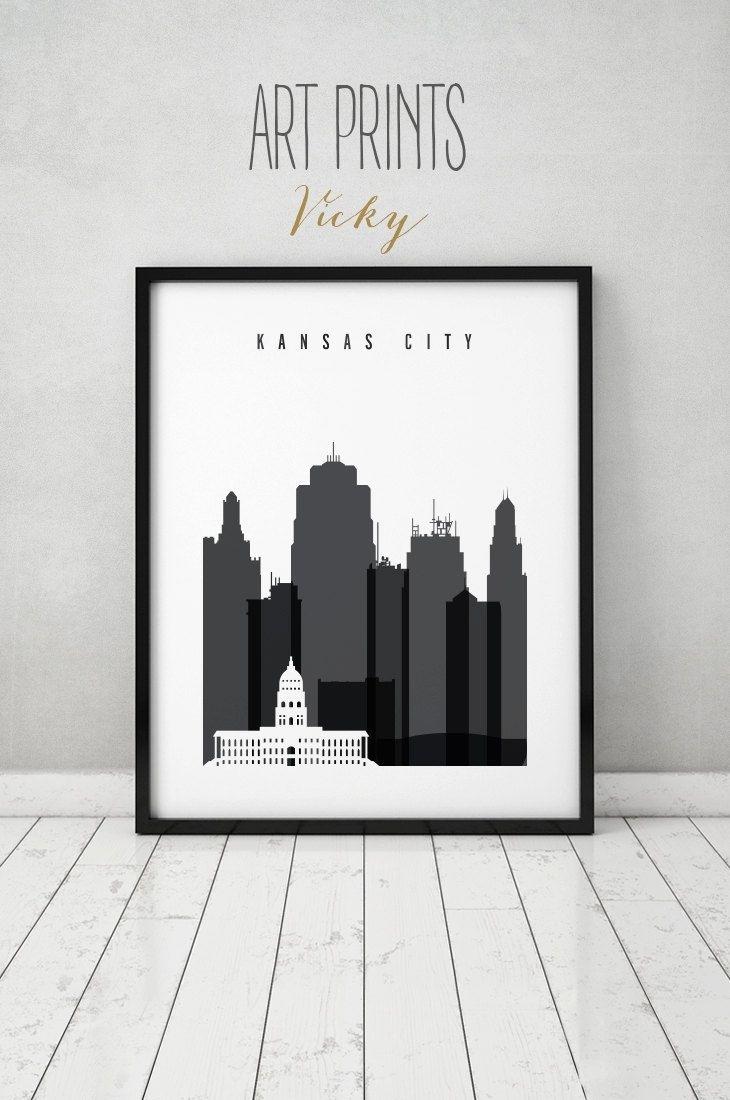 Kansas City Black And White Print, Poster, Wall Art, Travel Inside Kansas City Wall Art (View 20 of 20)