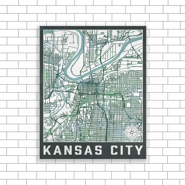 Kansas City, Missouri, Kansas City Map, Street Map, Map Of Kansas Regarding Kansas City Wall Art (Photo 14 of 20)