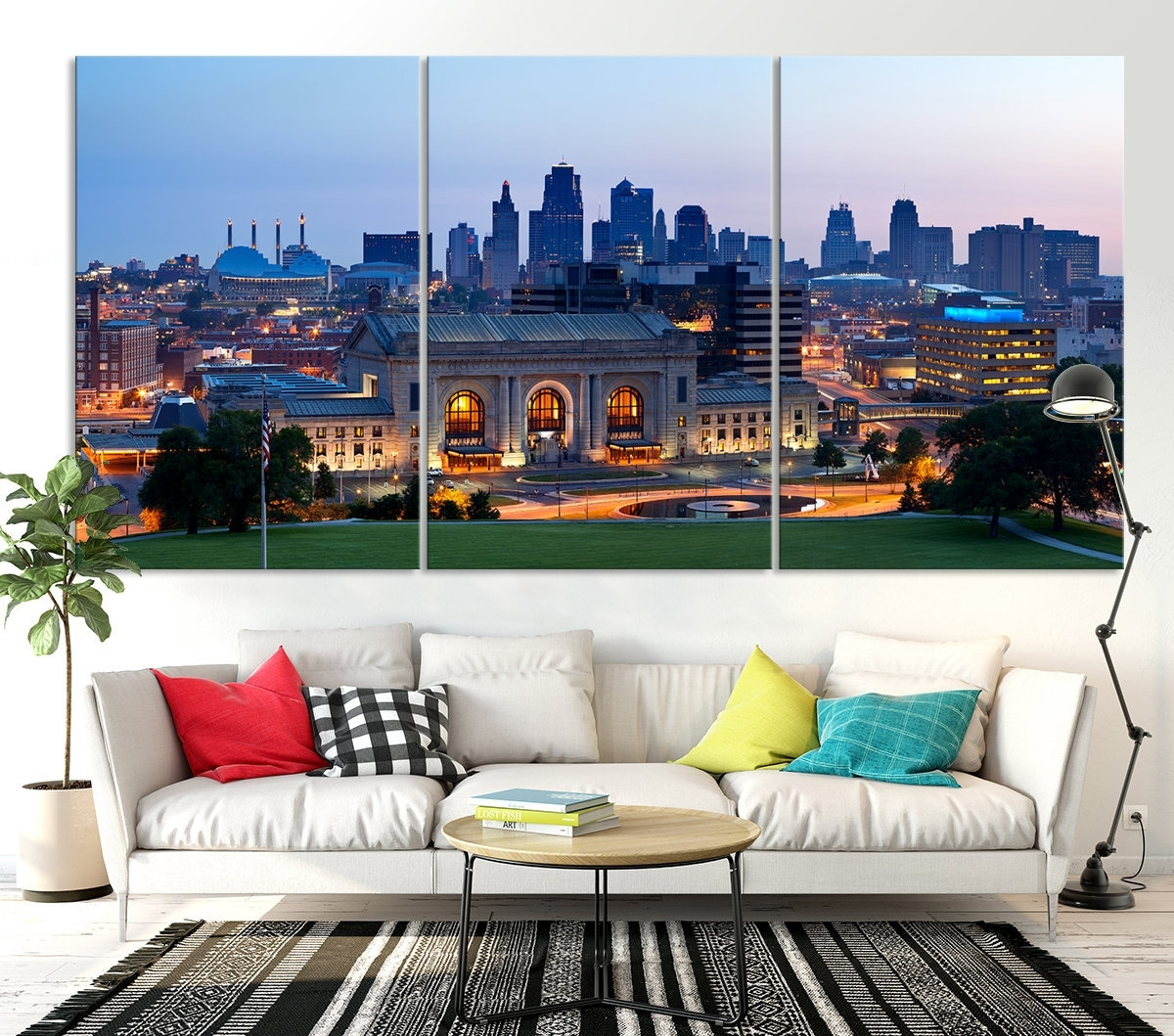Kansas City Night Skyline Wall Art Canvas Print, Kansas City with Kansas City Wall Art (Image 6 of 20)