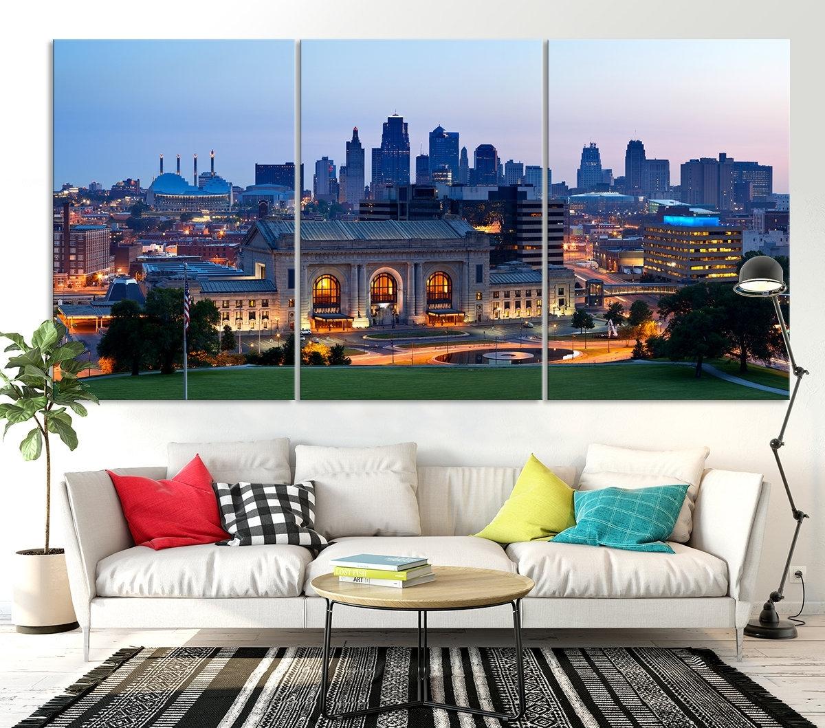 Kansas City Night Skyline Wall Art Canvas Print, Kansas City With Kansas City Wall Art (Photo 10 of 20)