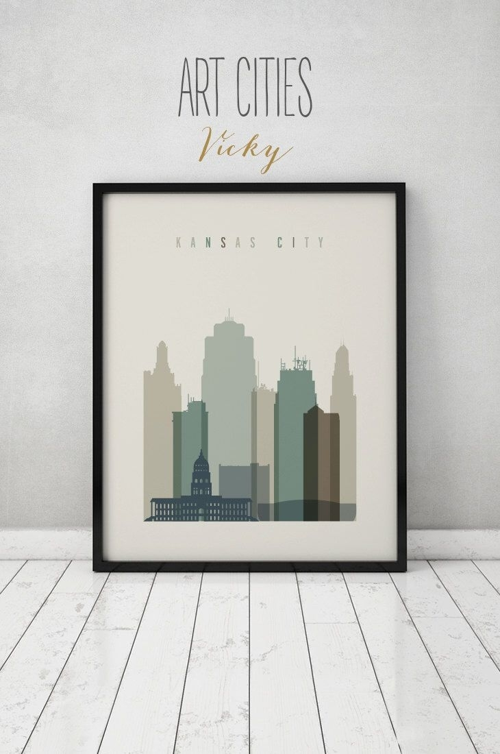 Kansas City Print, Wall Art, Kansas City Skyline, Kansas City Poster Throughout Kansas City Wall Art (Photo 4 of 20)