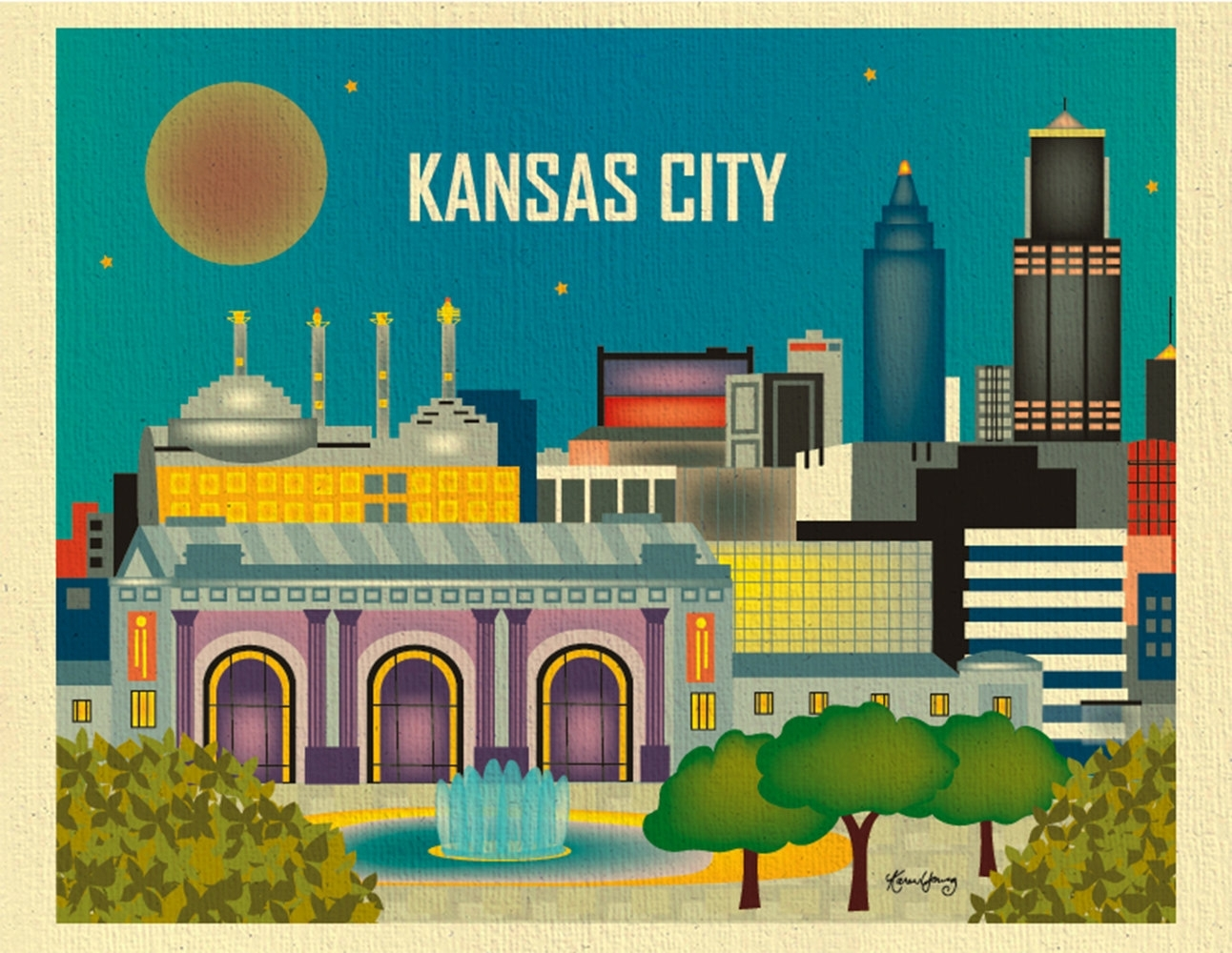 Kansas City Skyline Art Print Kansas City Wall Art Kansas | Etsy Pertaining To Kansas City Wall Art (Photo 5 of 20)