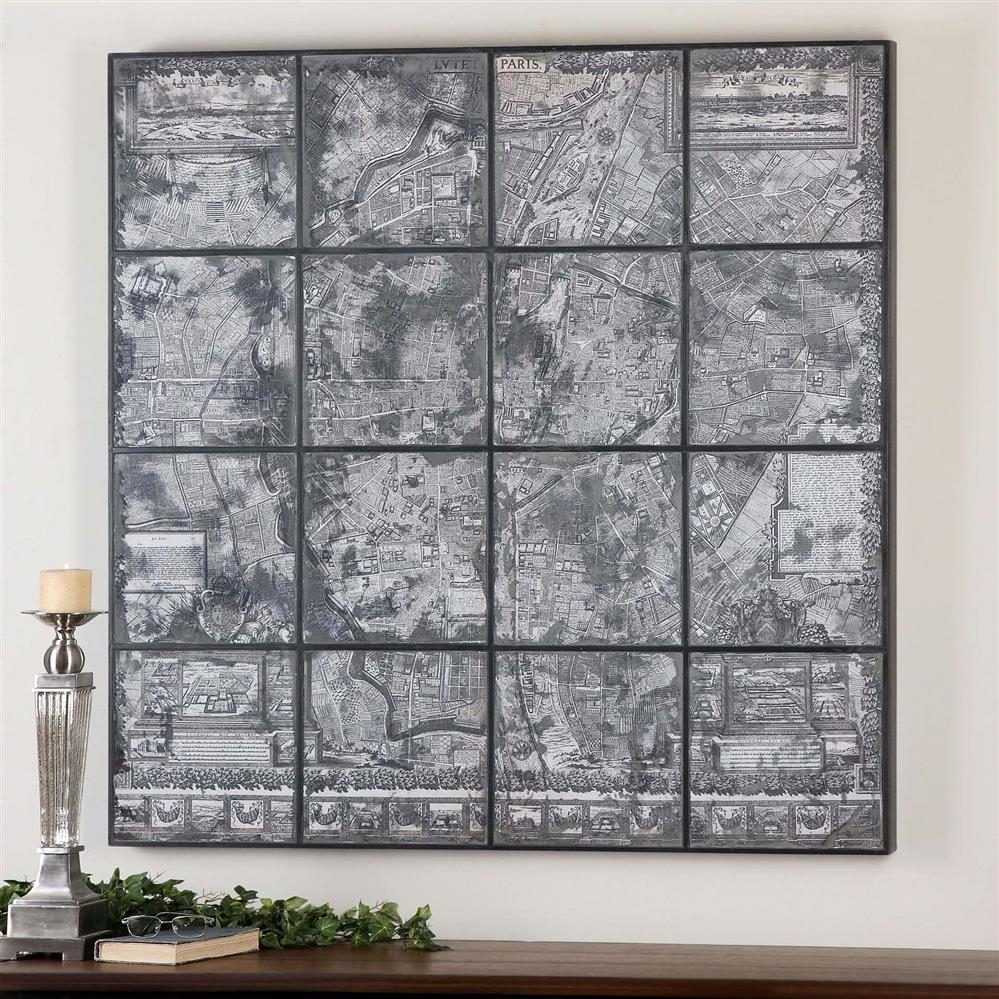 Kase Industrial Loft Dark Antique Mirror Parisian Map Wall Art With Map Of Paris Wall Art (Photo 17 of 20)