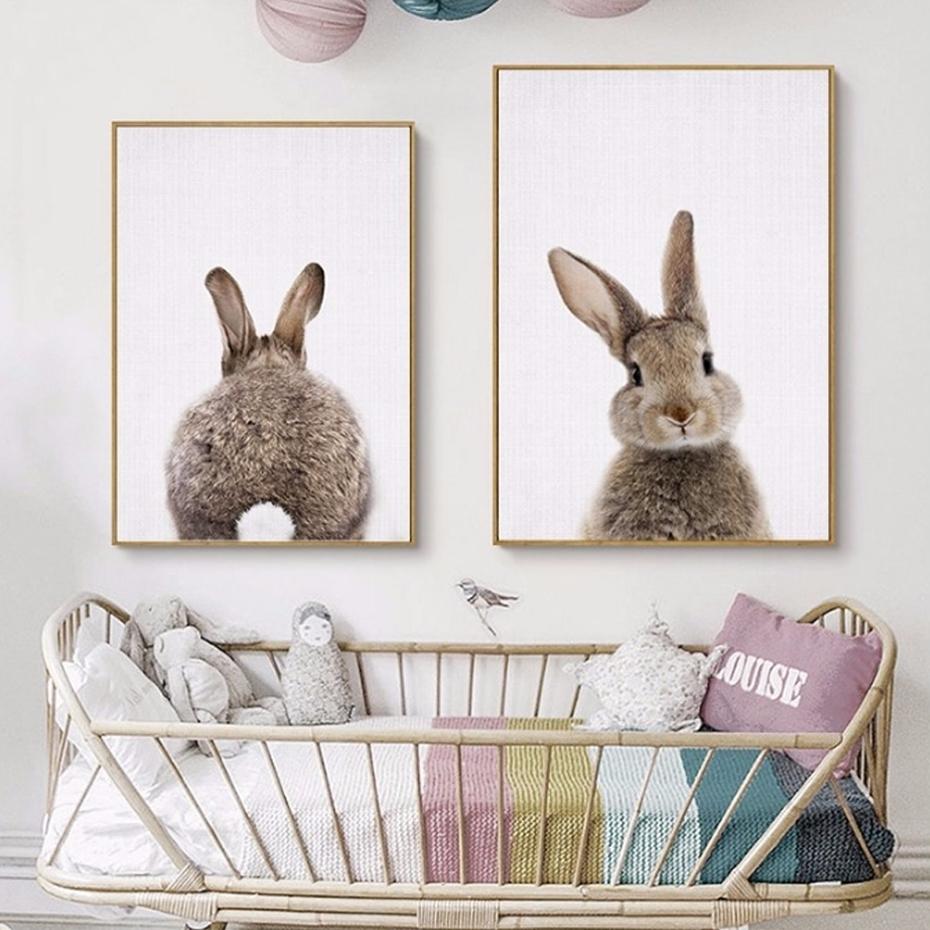 Kawaii Rabbit Tail Bunny Canvas Painting Nursery Wall Art Animal In Bunny Wall Art (Photo 8 of 20)