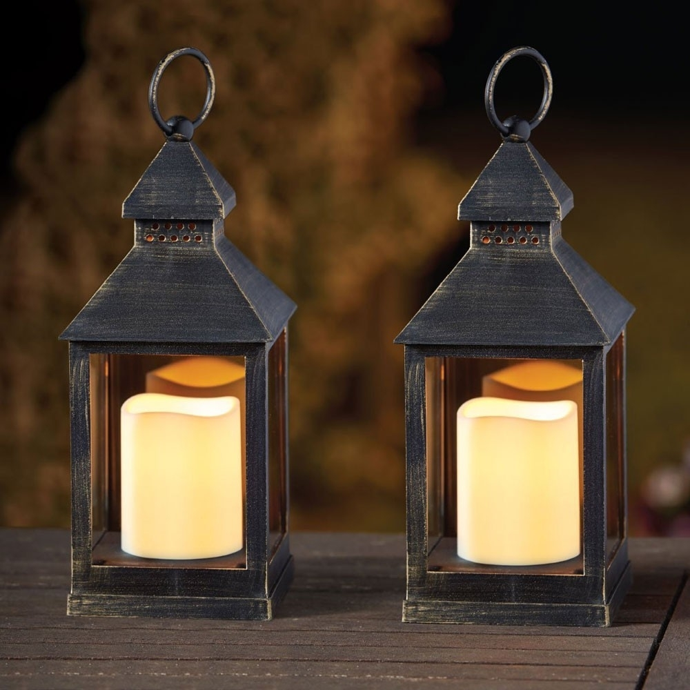 Kentish Candle Lantern (pack Of 2) Pertaining To Outdoor Lanterns With Battery Candles (View 13 of 20)