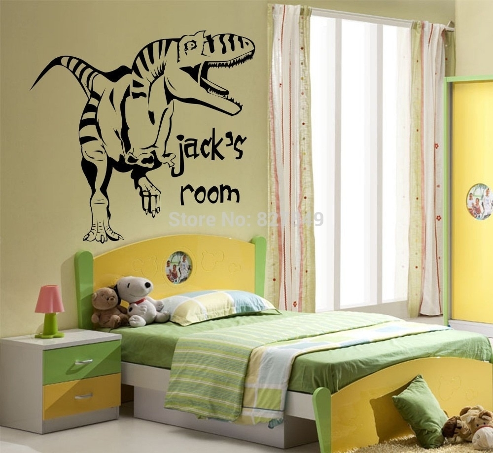 Kids Room Vinyl Wall Stickers Personalised Dinosaur Giant Wall Art Pertaining To Giant Wall Art (Photo 19 of 20)