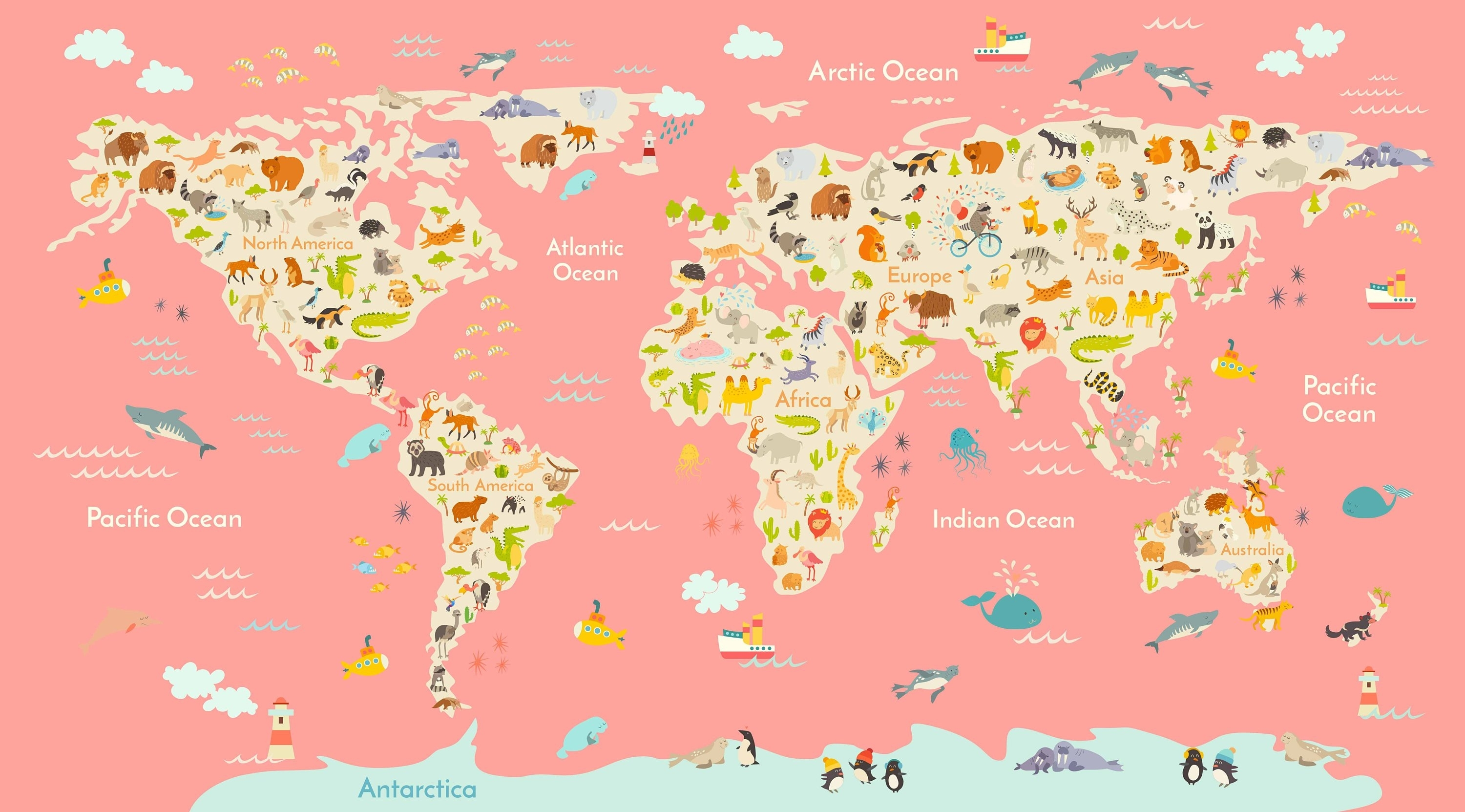 Kids Room World Map,large Animal Map, Kids Room Art, Kids Wall Art Regarding World Map Wall Art For Kids (Photo 17 of 20)