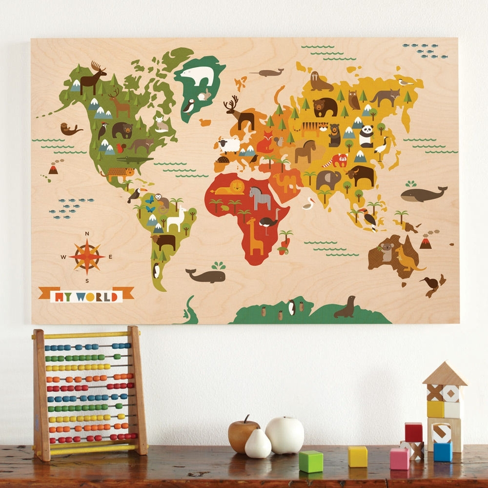 Kids Rooms World Map For Kids Room Decor Ideas Children S Map Of Throughout World Map Wall Art For Kids (Photo 14 of 20)