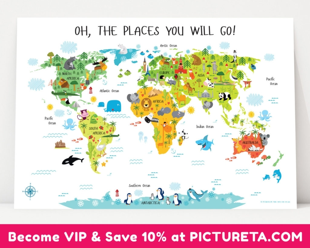 Kids World Map Wall Art   Yuehu Intended For World Map Wall Art For Kids (Photo 18 of 20)