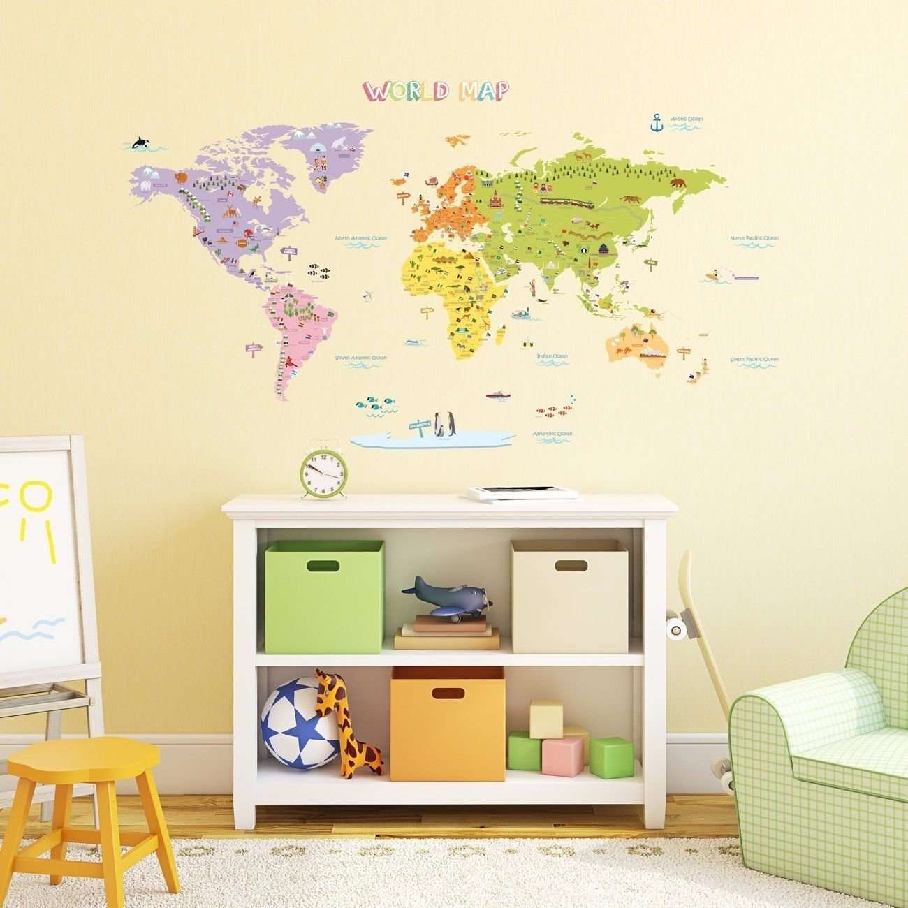 Kids World Map Wall Decals Stickers Great For The Bedroom Or | Etsy Within Wall Art Stickers World Map (View 17 of 20)