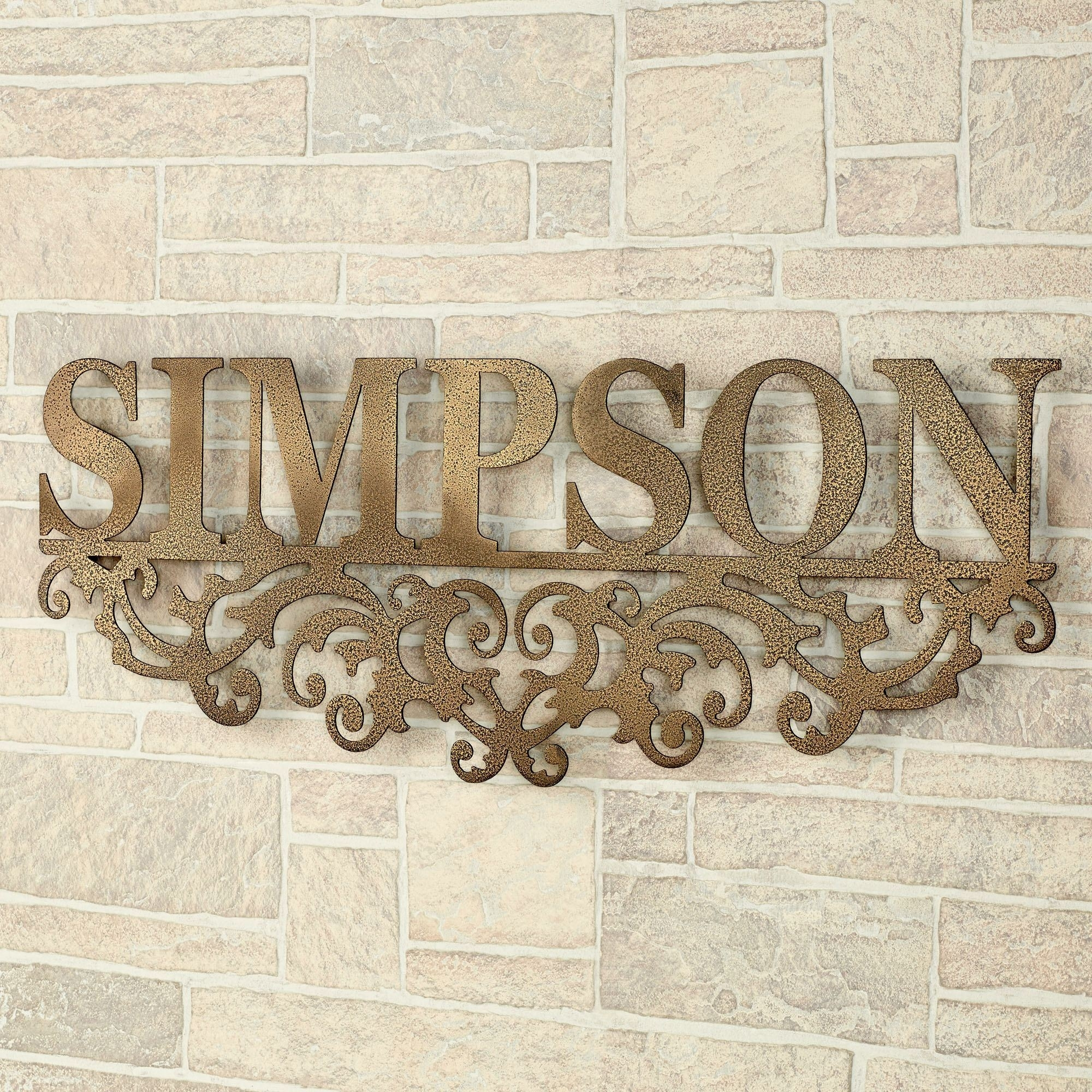 Kinship Antique Gold Family Name Personalized Metal Wall Art Sign Inside Family Name Wall Art (Photo 14 of 20)