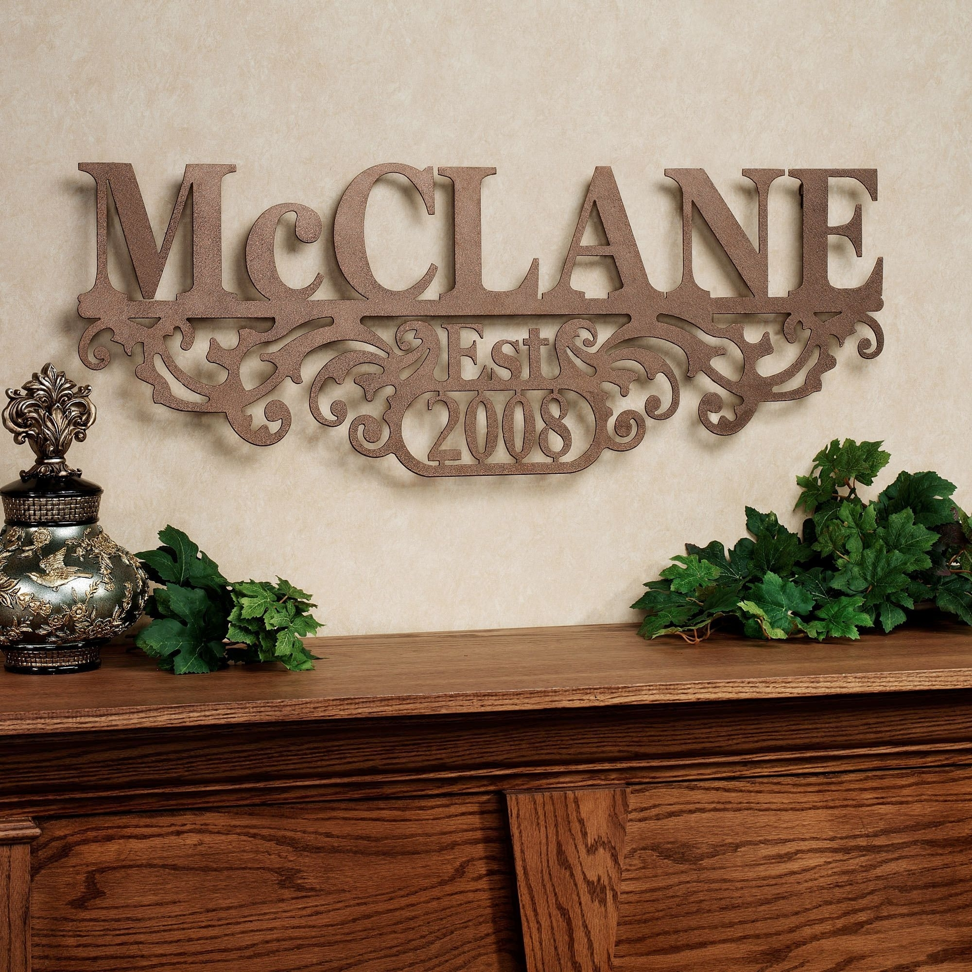 Kinship Bronze Family Name And Year Personalized Metal Wall Art Sign Inside Personalized Metal Wall Art (Photo 13 of 20)