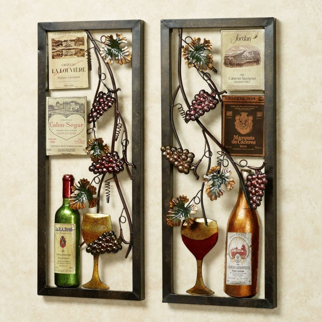 Kitchen Design: Valley Vineyard Metal Wall Art Set Wine Decor Wall With Regard To Kitchen Metal Wall Art (Gallery 9 of 20)