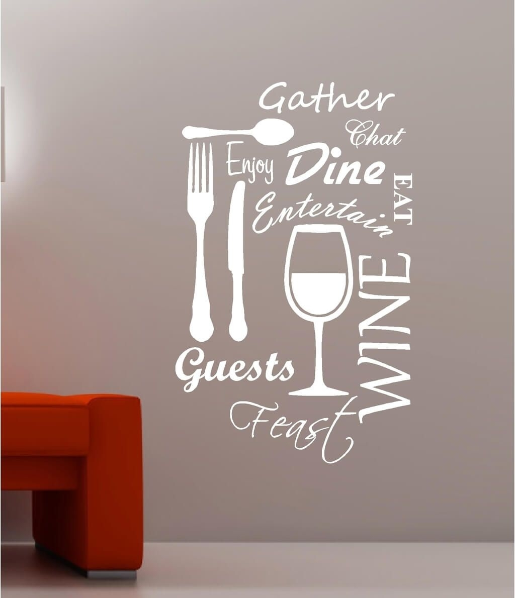 Kitchen: Vineyard Wine Kitchen Wall Art Quotes Vinyl White Sticker Intended For Wall Art For Kitchen (Gallery 10 of 20)