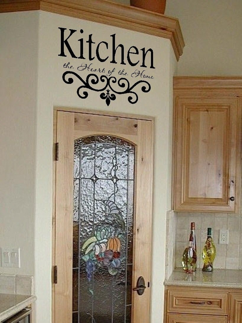 Kitchen Vinyl Wall Decal  Kitchen The Heart Of The Home  Lettering With Regard To Kitchen Wall Art (Gallery 19 of 20)