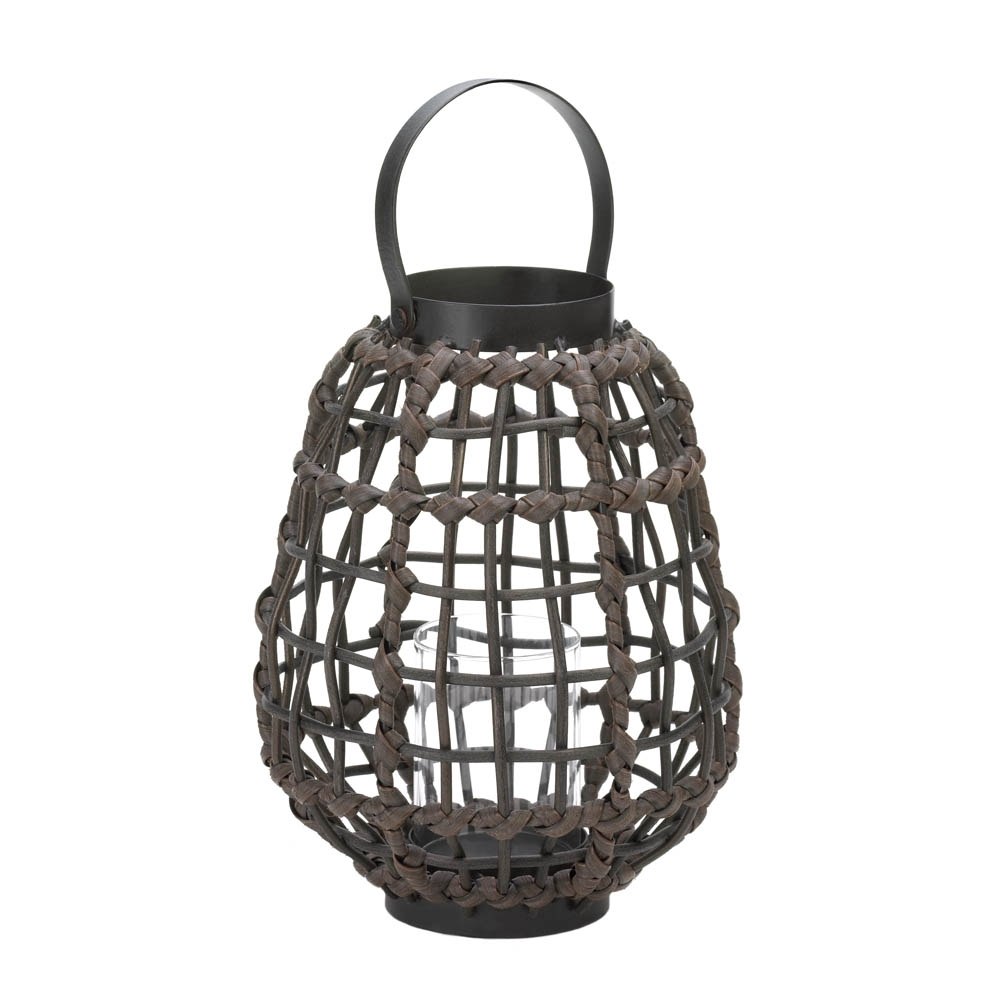 Knotted Rattan Candle Lantern, Candle & Holders, Stylish Home And Regarding Outdoor Rattan Lanterns (Photo 11 of 20)