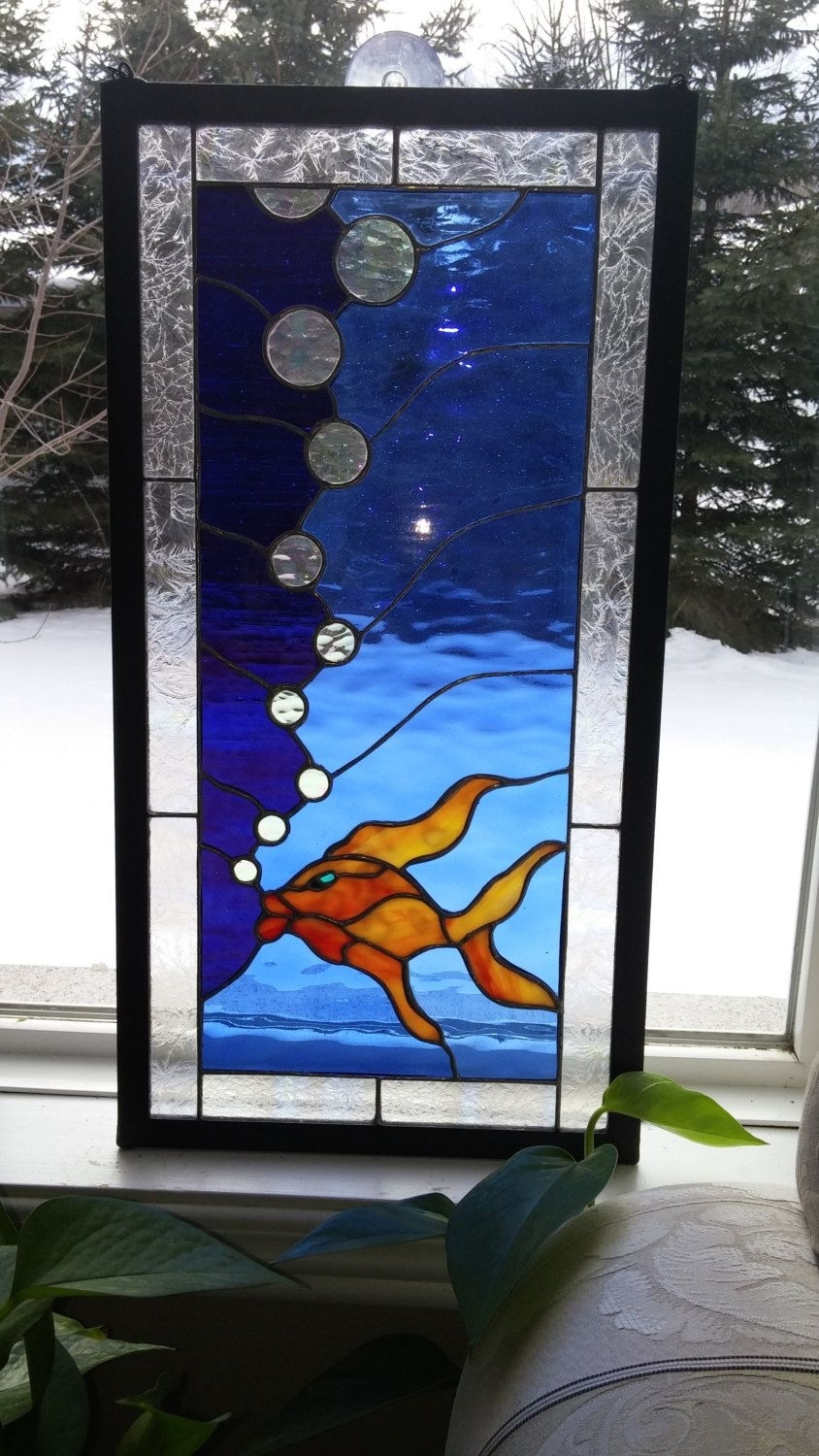 Koi Fish Panel.stained Glass Window.framed Wall Art (View 17 of 20)