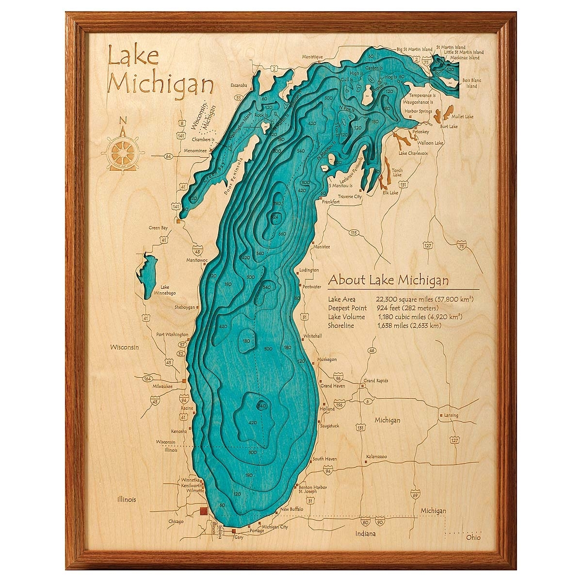Lake Topography Art | Hand Crafted Lake Map Topography Art intended for Michigan Wall Art (Image 6 of 20)