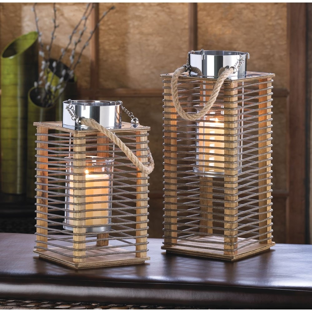 Lantern Candle Holders, Decorative Outdoor Hudson Rustic Wooden with Outdoor Wood Lanterns (Image 11 of 20)