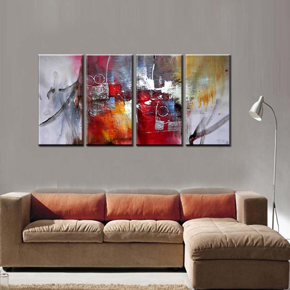 Large 4 Piece Famous Artist Modern Canvas Wall Art, Canvas Wall Art in Modern Painting Canvas Wall Art (Image 13 of 20)