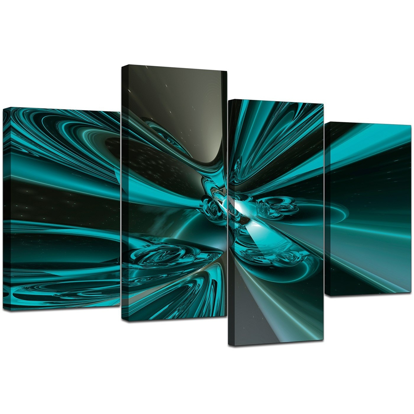 Large Abstract Canvas Art In Teal - For Living Room in Abstract Wall Art (Image 14 of 20)