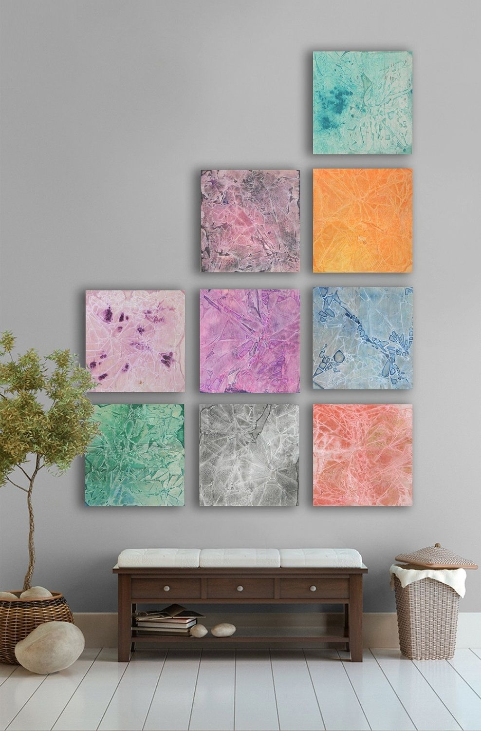 Large Abstract Painting, 9 Square Custom Abstract Wall Art , Large For Large Abstract Wall Art (View 6 of 20)