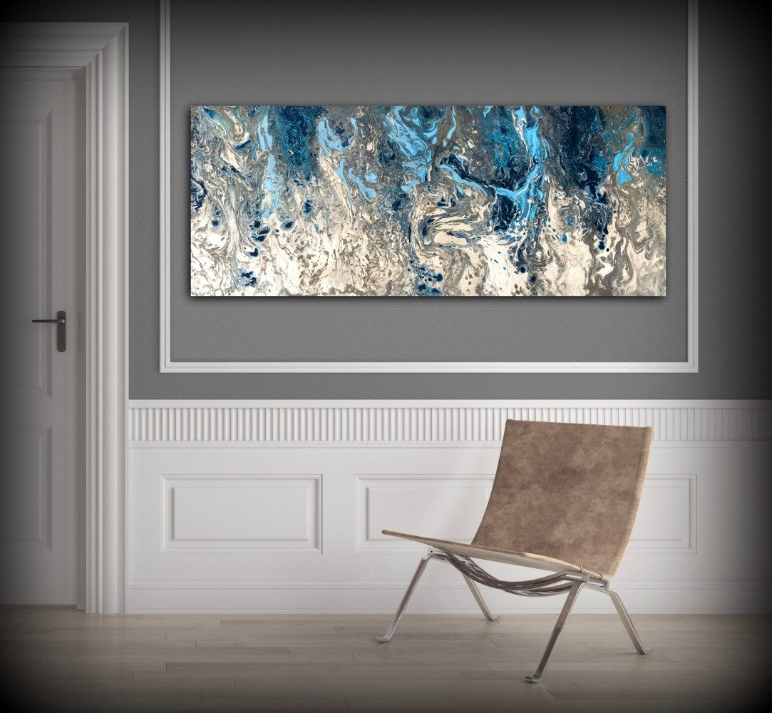 Large Abstract Painting Print Navy Blue Print Art Large Canvas Art intended for Navy Blue Wall Art (Image 7 of 20)