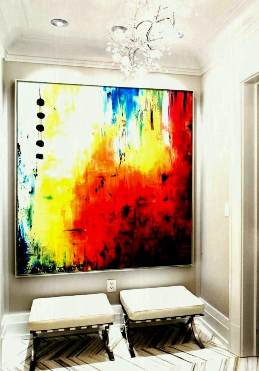 Large Abstract Wall Art Square Canvas Painting Handmade Acrylic Arts Regarding Large Abstract Wall Art (View 19 of 20)