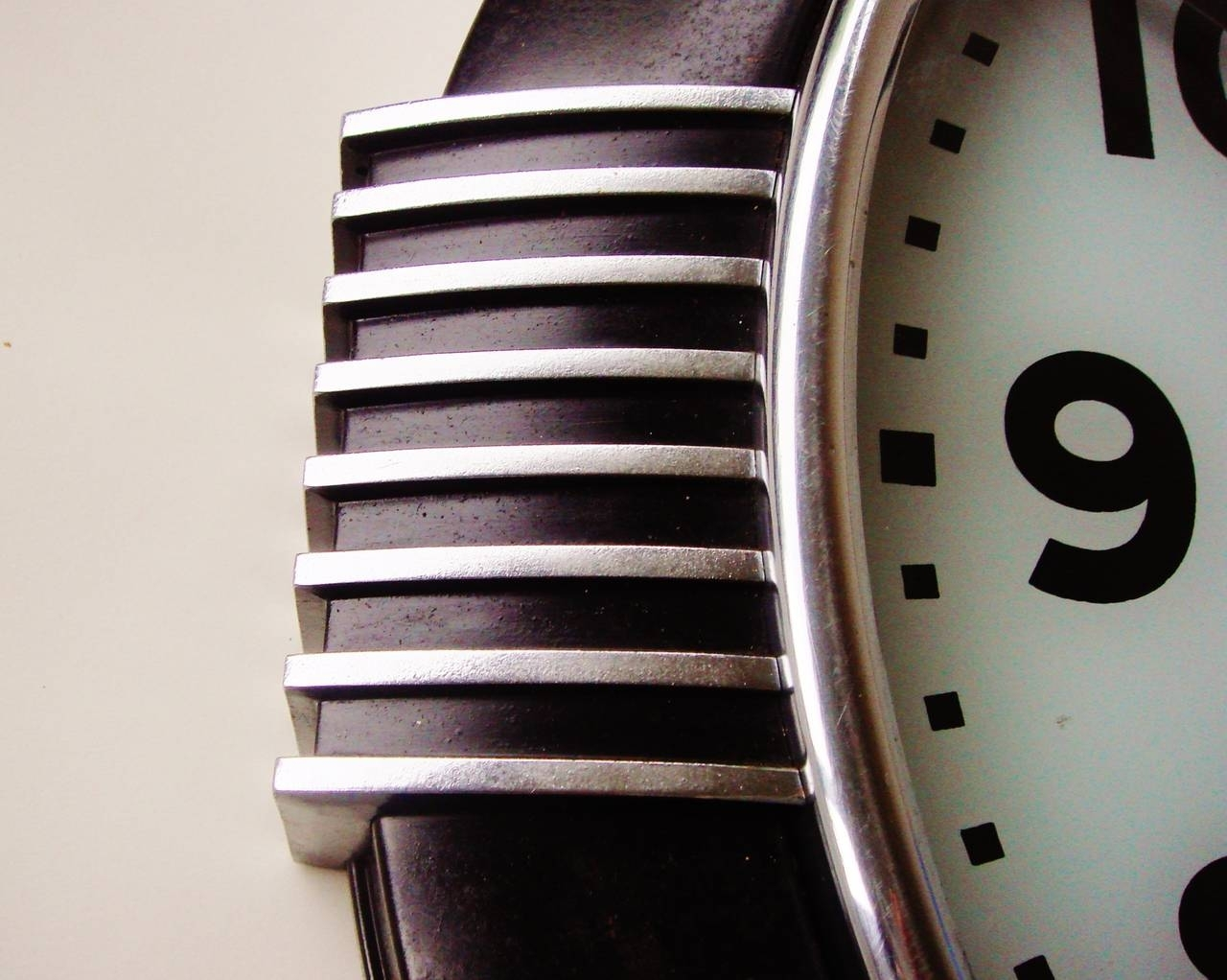 Large American Art Deco Chrome And Black Illuminated Dial Wall Clock regarding Art Deco Wall Clock (Image 13 of 20)