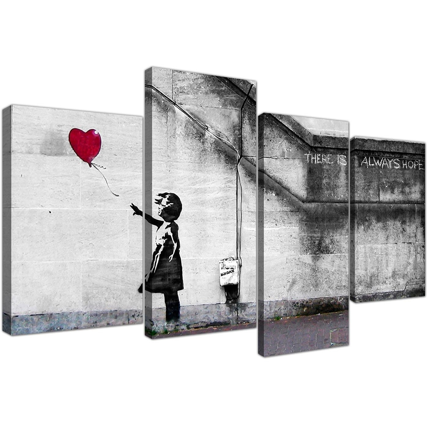 Large Banksy Canvas Prints - Balloon Girl Red within Red Canvas Wall Art (Image 13 of 20)