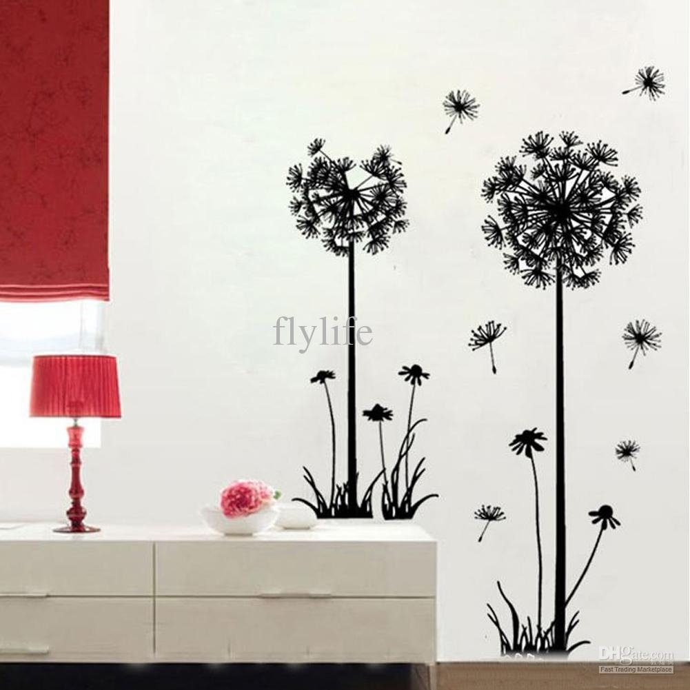 Large Black Dandelion Wall Stickers, Art Room Decor Wall Decals Peel in Dandelion Wall Art (Image 16 of 20)