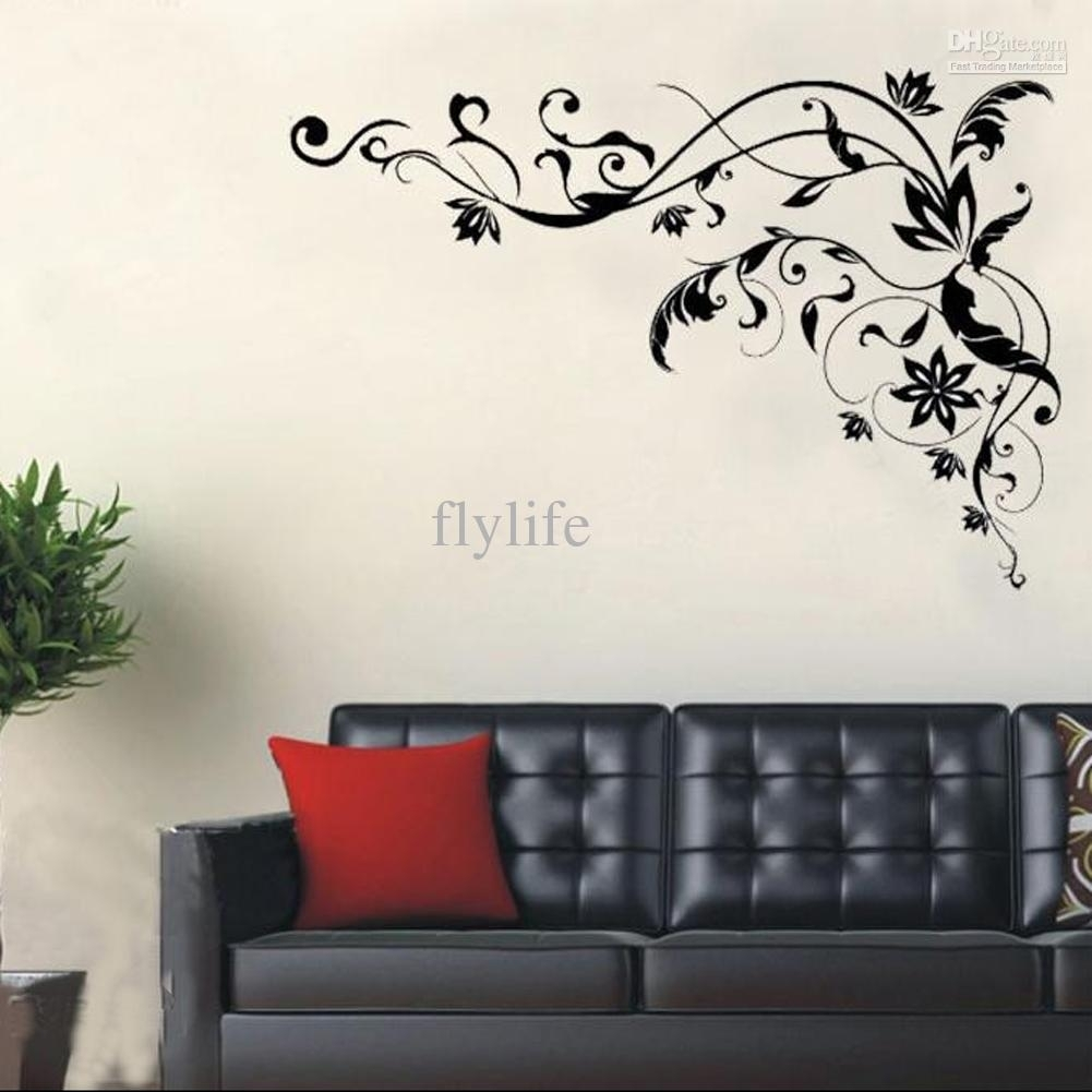 Large Black Vine Art Wall Decals, Diy Home Wall Decor Stickers For in Black Wall Art (Image 8 of 20)