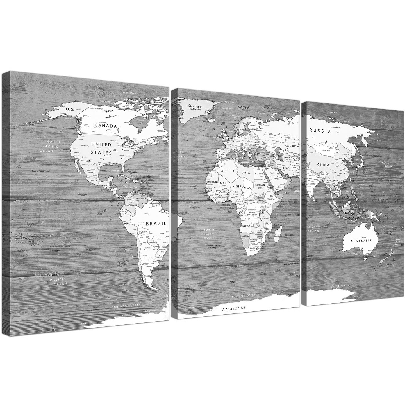 Large Black White Map Of World Atlas - Canvas Wall Art Print - Split inside Black And White Canvas Wall Art (Image 11 of 20)