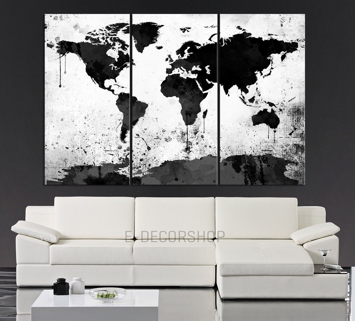 Large Black White World Map Canvas Print - 3 Piece Watercolor Splash within Black and White Canvas Wall Art (Image 12 of 20)