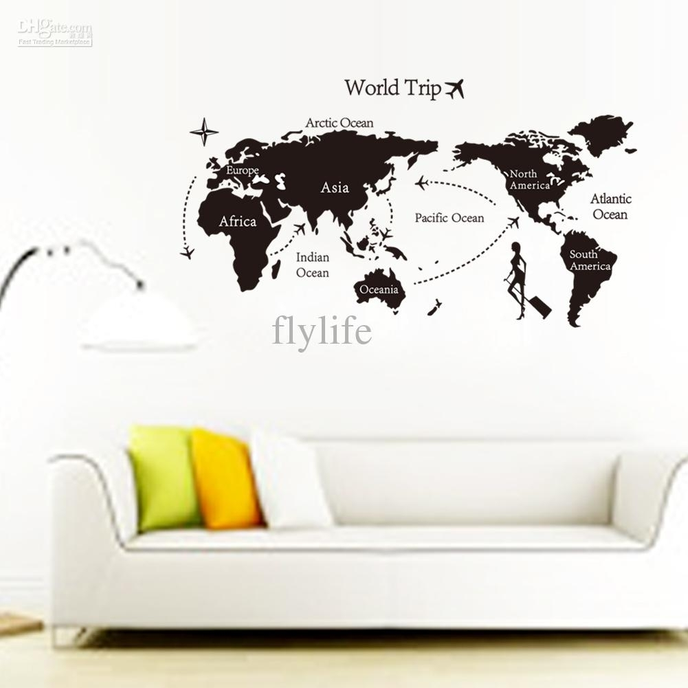 Large Black World Map Wall Decals And Decor Stickers For Living Room Pertaining To Wall Art Stickers World Map (View 3 of 20)