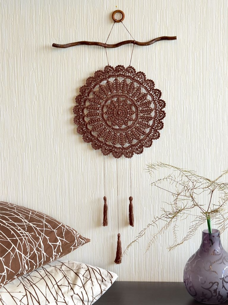 Large Crochet Dream Catcher Crochet Wall Decor Brown Crochet Dream inside Crochet Wall Art (Image 14 of 20)