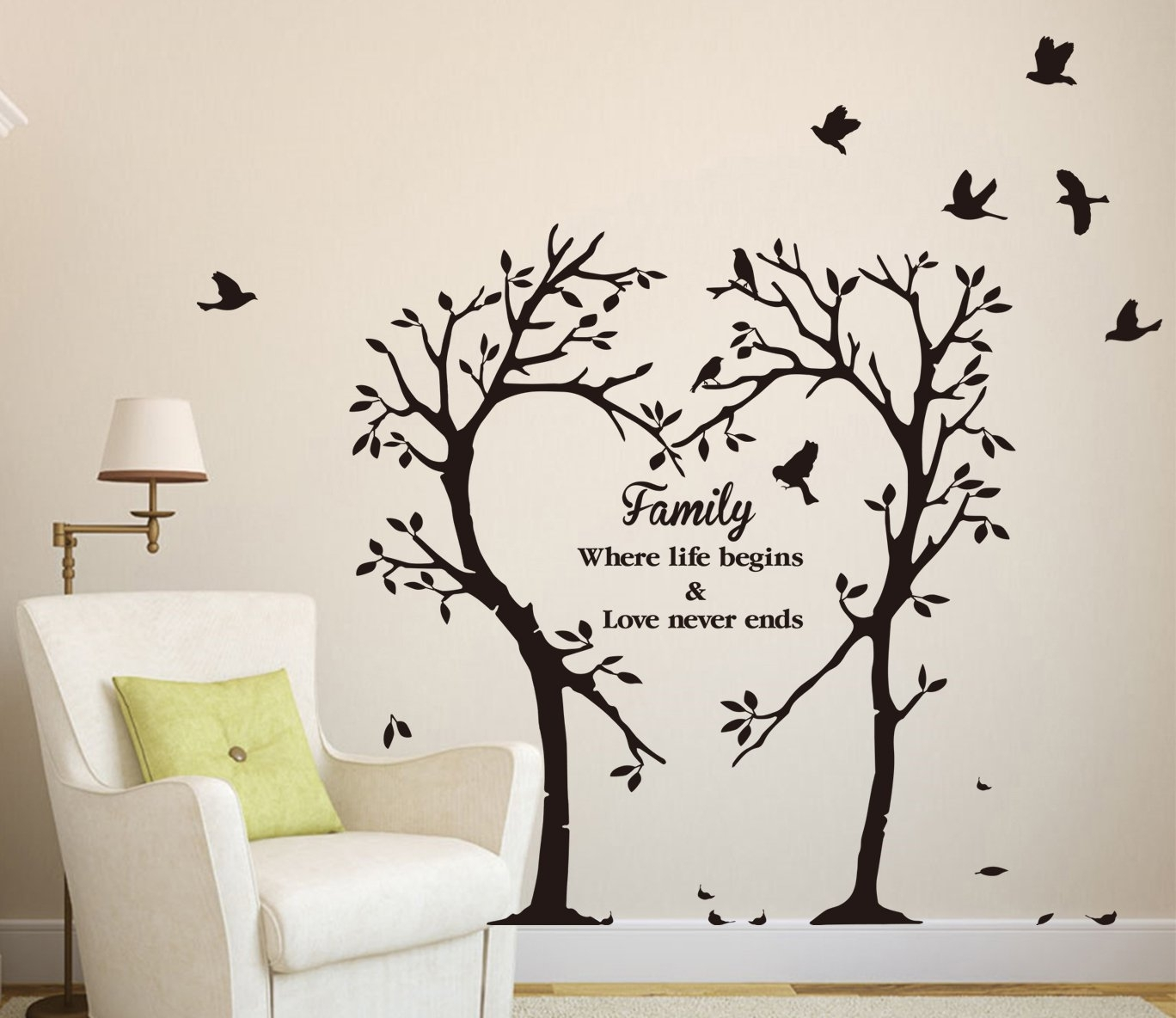 Large Family Inspirational Love Tree Wall Art Sticker, Wall Sticker within Tree Wall Art (Image 8 of 20)