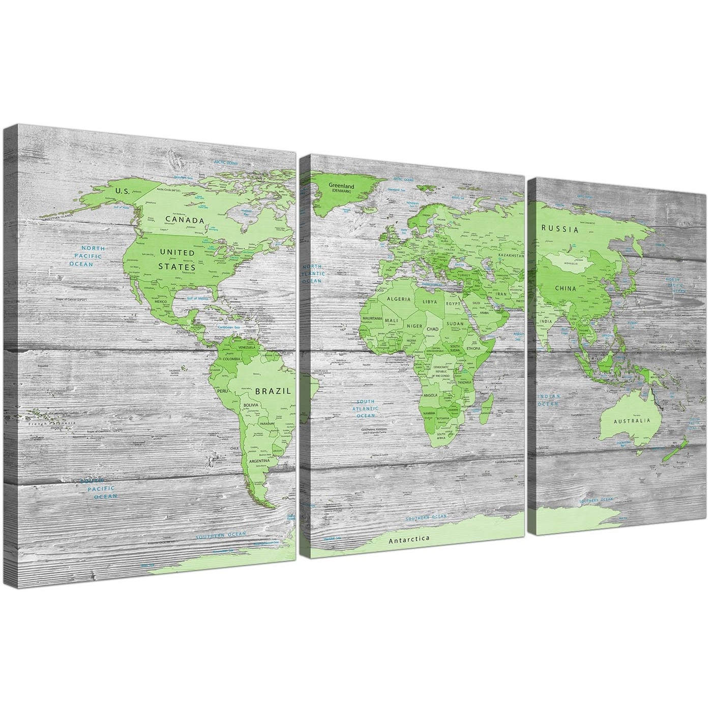 Large Lime Green Grey World Map Atlas Canvas Wall Art Print – Multi With Regard To Green Wall Art (View 12 of 20)