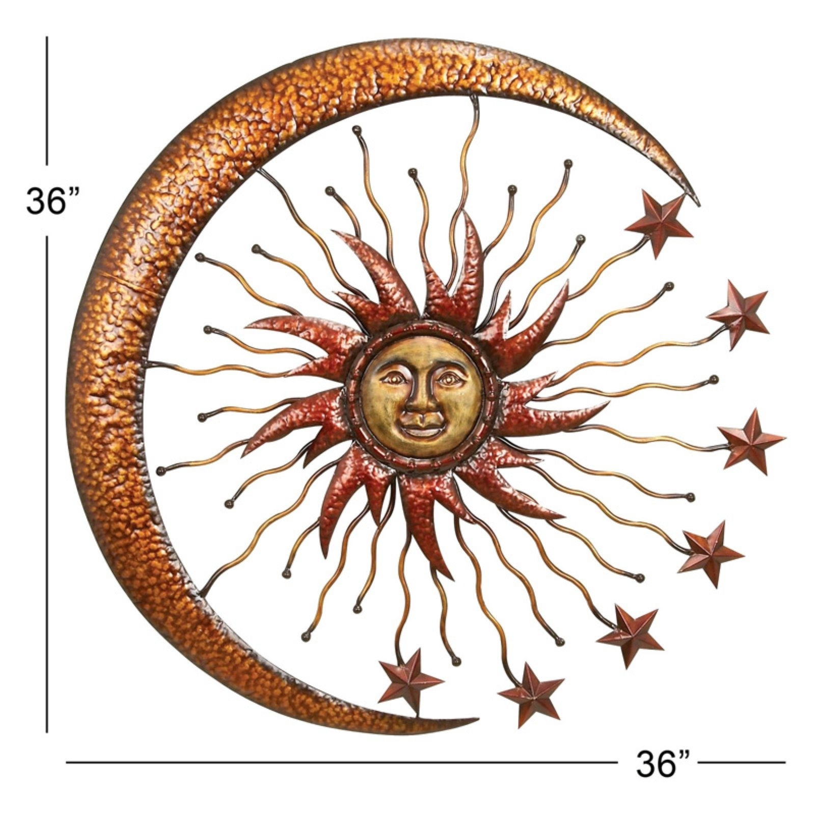 Large Metal Sun Moon Celestial Garden Decor Art Patio Porch Wall in Sun and Moon Metal Wall Art (Image 11 of 20)