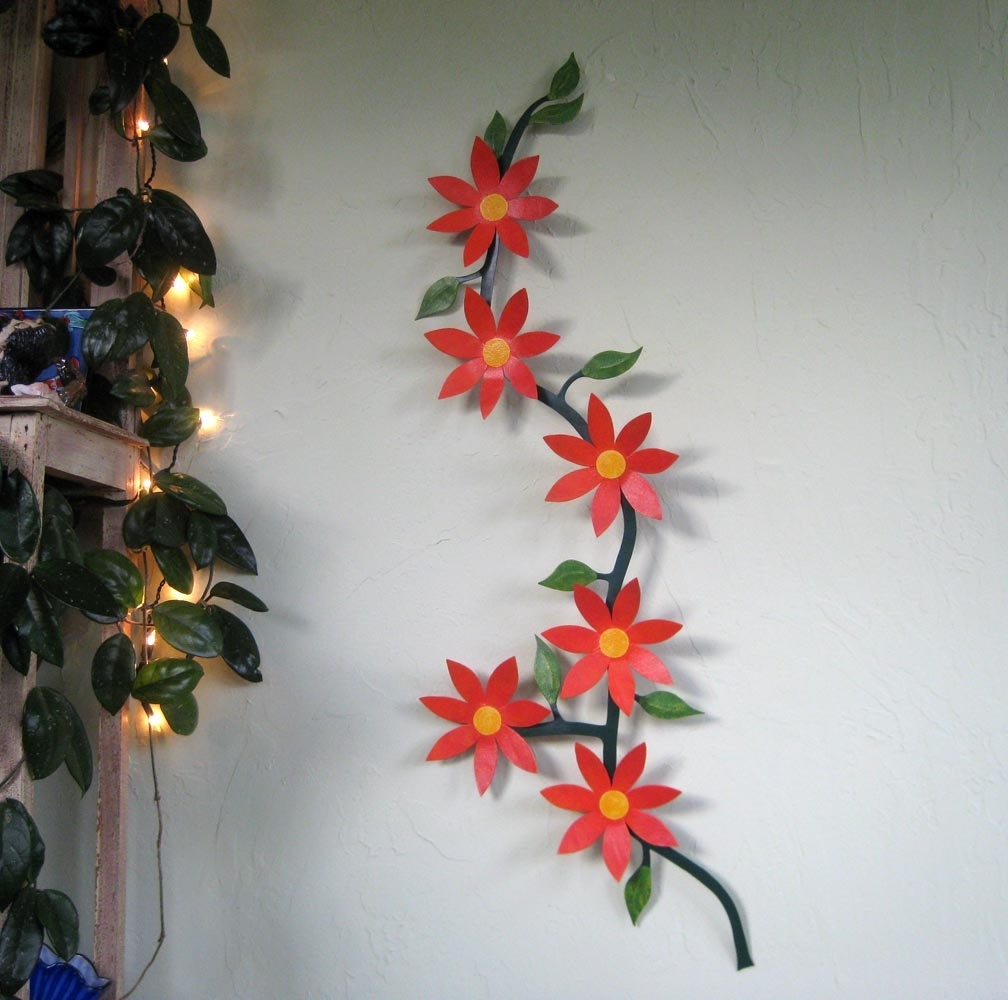 Large Metal Wall Art Flower Vine Sculpture Climbing Trailing, Metal intended for Metal Flowers Wall Art (Image 9 of 20)