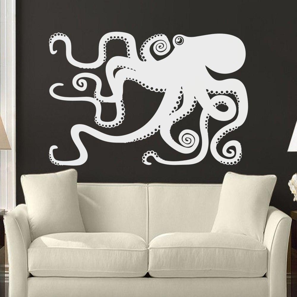 Large Octopus Decal Ocean Wall Decor Sea Octopus Wall Art Bathroom for Octopus Wall Art (Image 9 of 20)