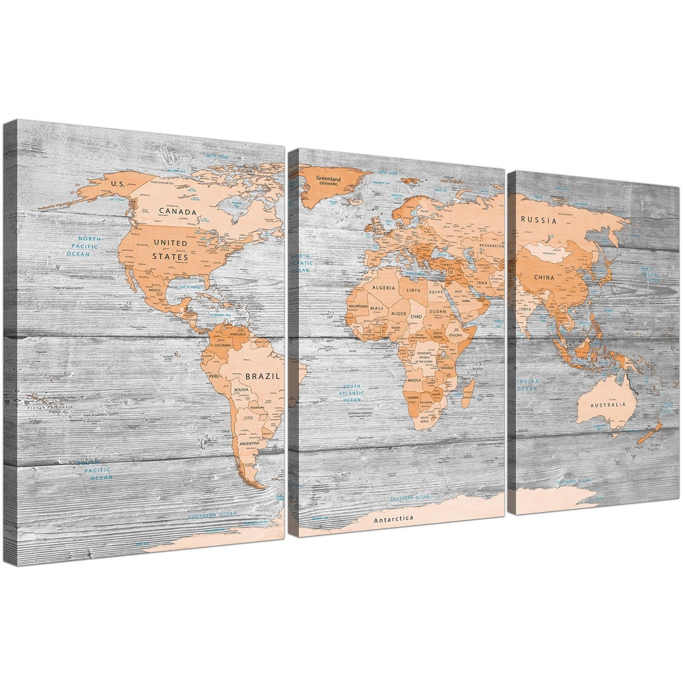Large Orange Grey Map Of World Atlas Canvas Wall Art Print - Split 3 inside Canvas Wall Art (Image 14 of 20)