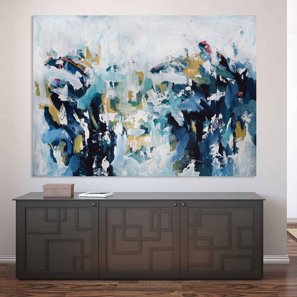 Large Original Landscape Canvas Painting Abstract Artomar Obaid Within Large Abstract Wall Art (View 3 of 20)