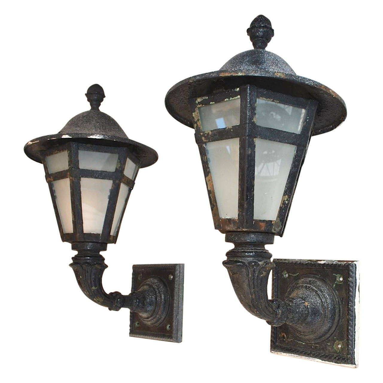 Large Pair Of 1920 Cast Iron And Metal Outdoor Sconces For Sale At pertaining to Outdoor Iron Lanterns (Image 12 of 20)