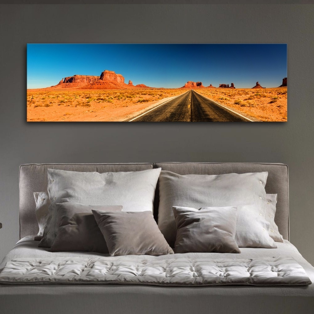 Large Panoramic Desert Highway Modern Wall Art Canvas Print Painting for Panoramic Wall Art (Image 10 of 20)